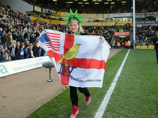 Our Katie during the parade at Carrow Road last week.